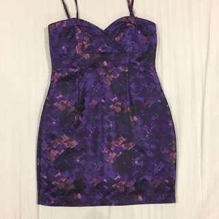 Purple Bandeau Mini Dress