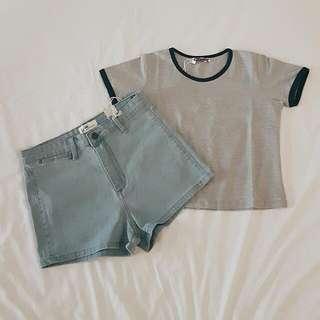 [CLOSET CLEARANCE] Grey/Navy Ringer Crop Top & Denim Shorts