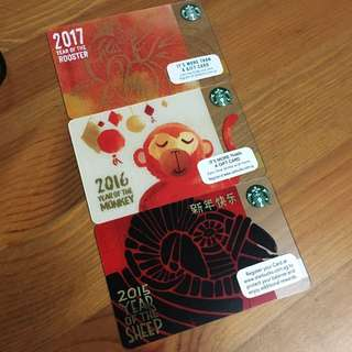 2015,2016,2017 Starbucks CNY Cards