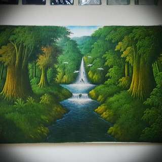 Forest Waterfall Large Painting (Oil On Canvas, 135cm × 85cm, New)