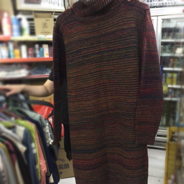 冬季長版高領毛衣
