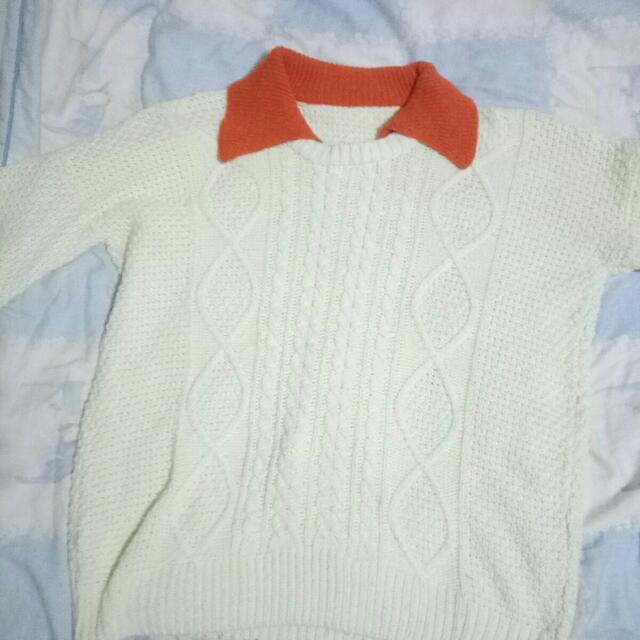 米白假兩件針織毛衣