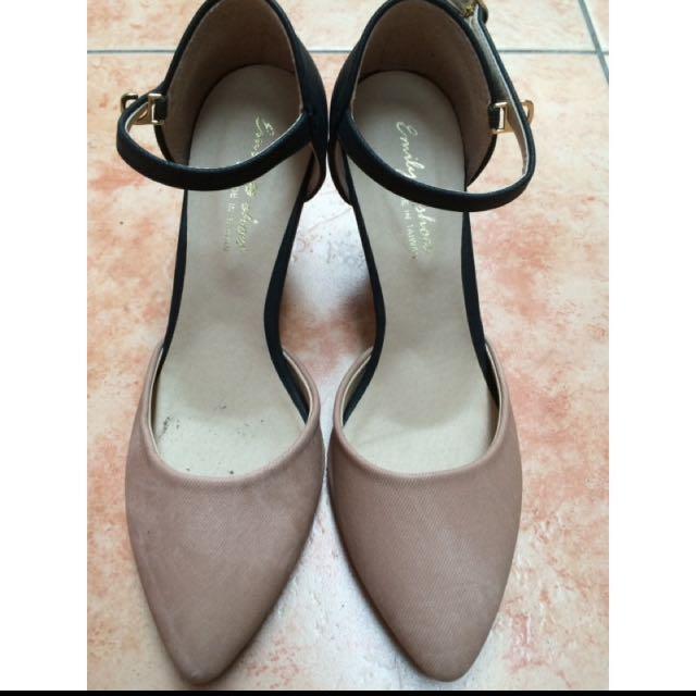 裸粉色繫帶尖頭高跟鞋 24 台灣製 #五百元好女鞋