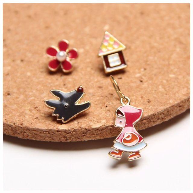 小紅帽與大野狼。童話耳環 無耳洞可戴