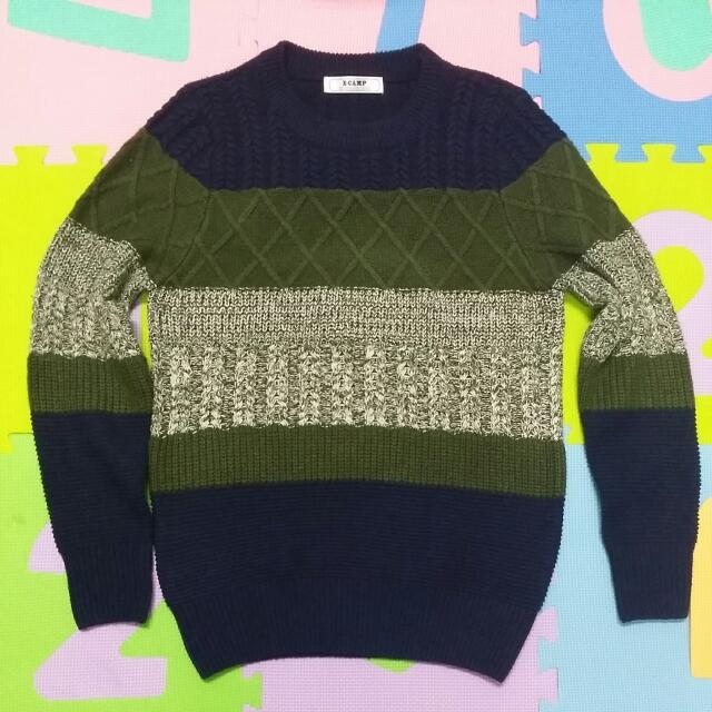 條紋 藍綠 毛衣(保留)
