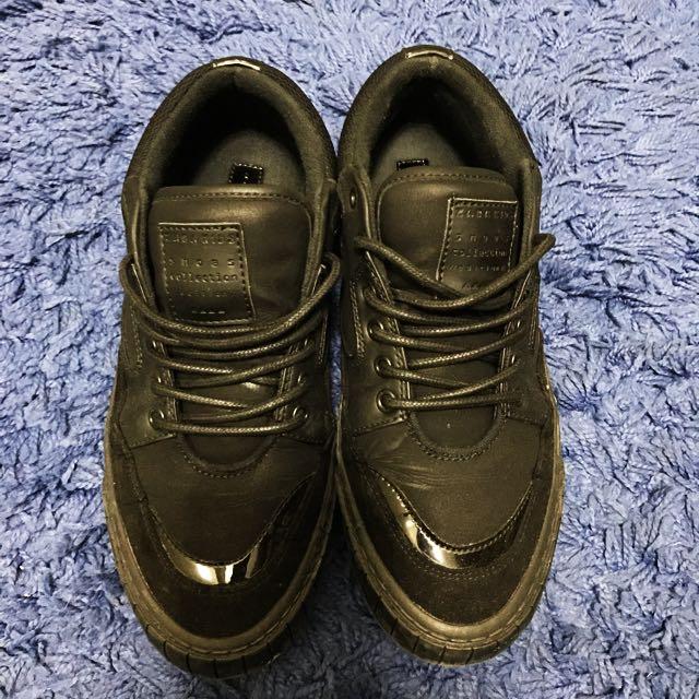 二手 zara 全黑男童平底鞋 運動鞋 大人可穿 37號