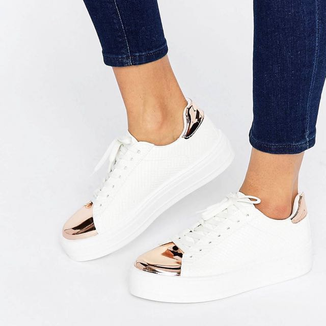 Asos Sneakers - White And Rose Gold