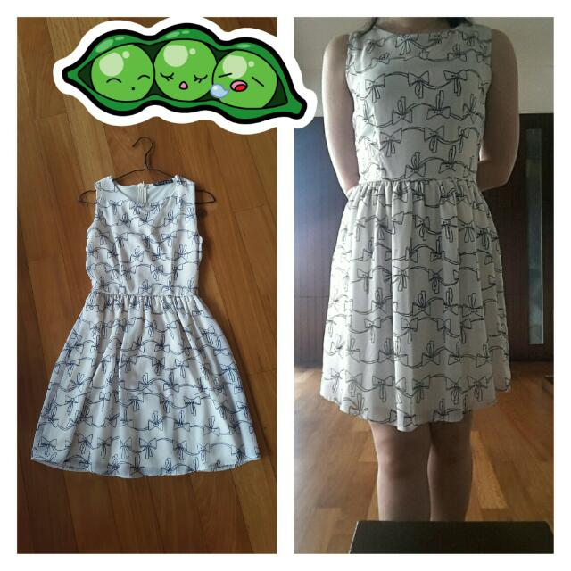 Atmosphere Off White Dress With Bows All Over