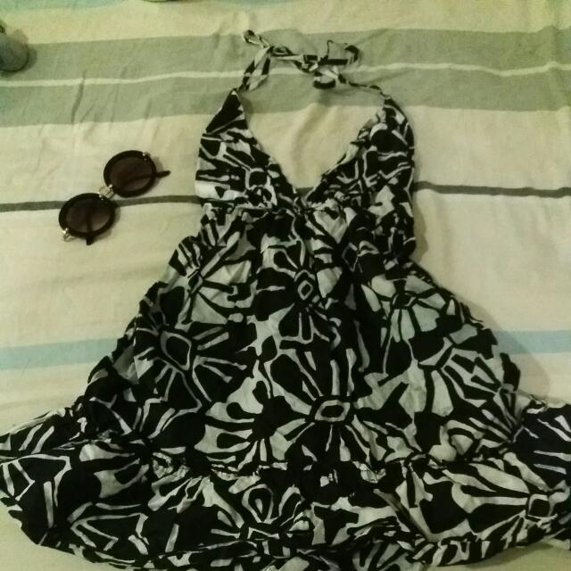 Backless Black And White Floral Dress