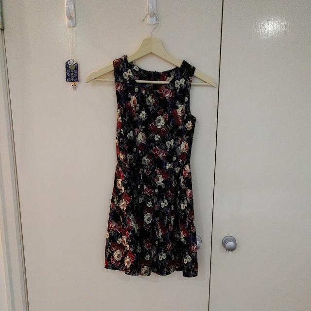 Black Floral Dress With Pleated Details