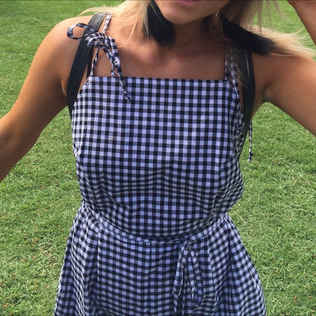 Blacks And White Checkered Play suit