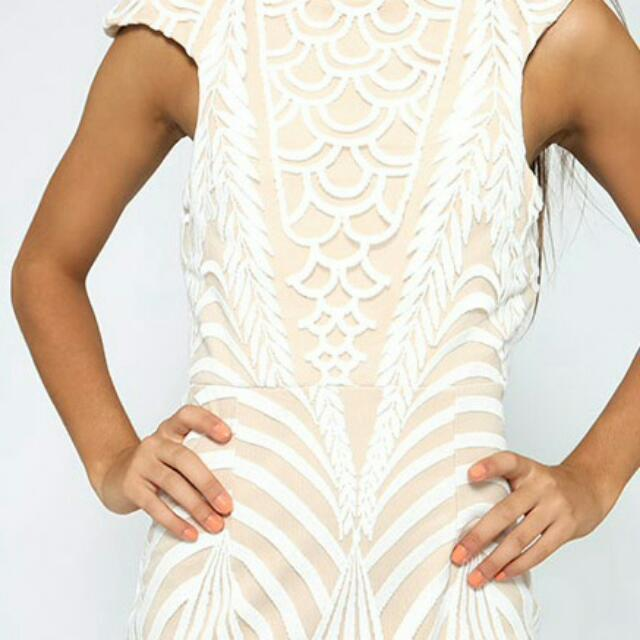 Bloom White Lace Nude Dress