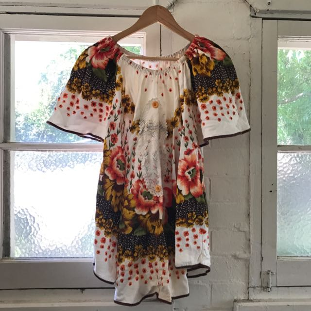 Boho Table Cloth Dress - Hand Made!