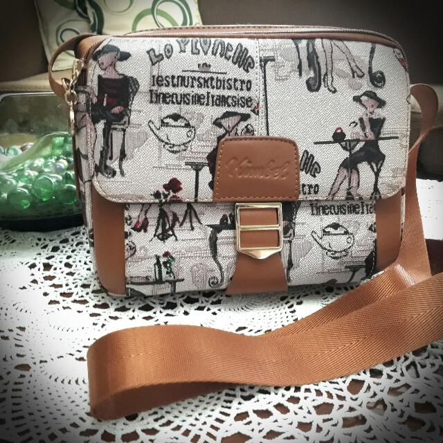 Brown Printed Shoulder bag