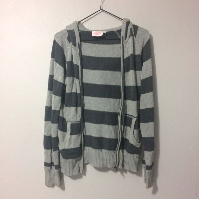 Comfy Hoodie Grey Striped 'Hot Options'