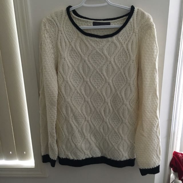 Creme Cozy Sweater With Black Lining!