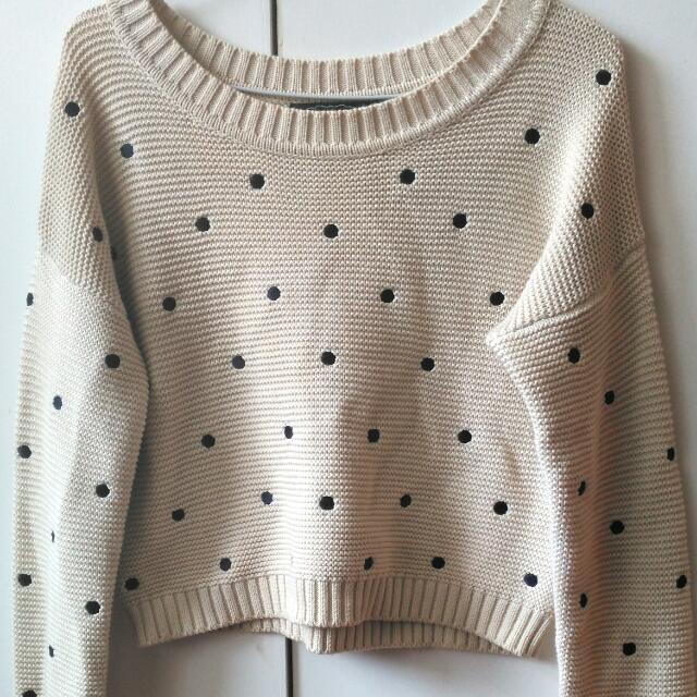 Cropped Polka Dot Sweater