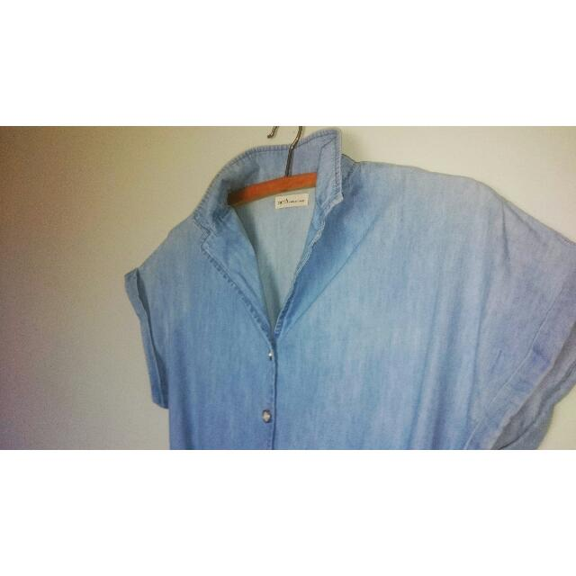 Cute 100% pale blue cotton dress