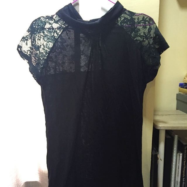 For Me Black Dress With Lace