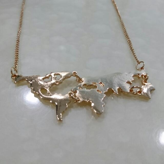 Gold world map pendant necklace womens fashion jewellery on gold world map pendant necklace womens fashion jewellery on carousell gumiabroncs Image collections