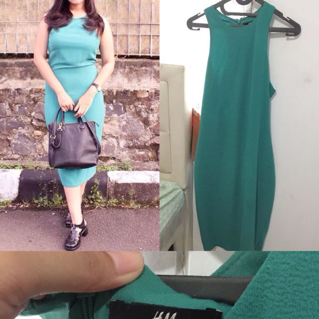 H&M Long Dress green girl/womam