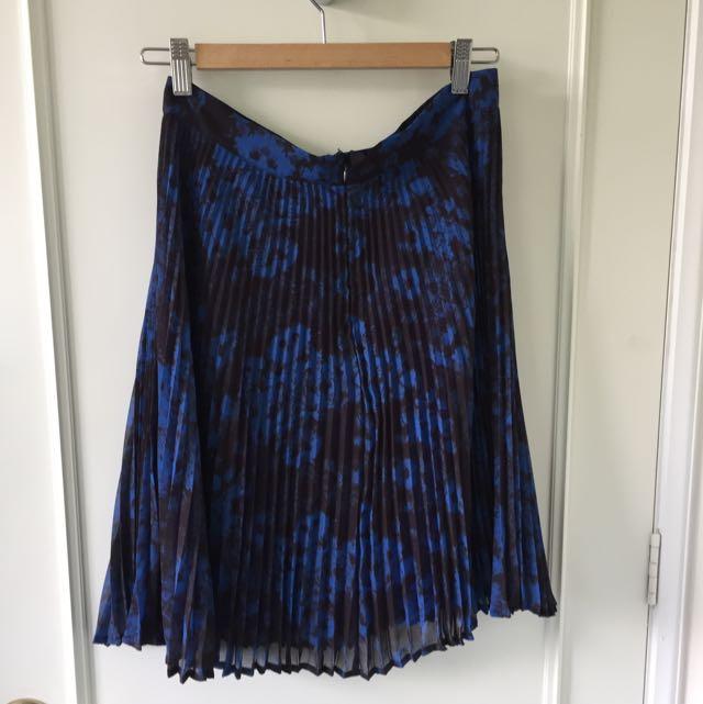 Jigsaw Blue Print, Sun Ray Pleated Midi Skirt