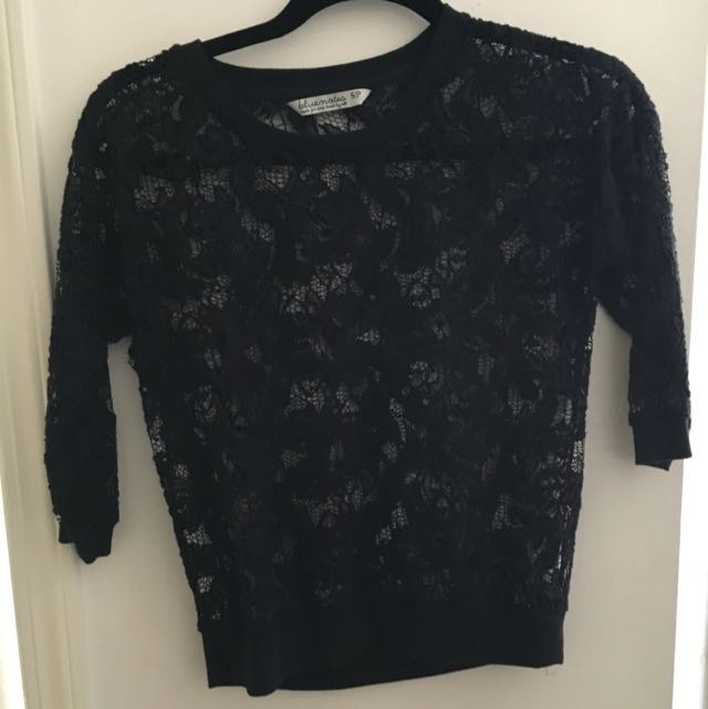 Lace See-through Black Top
