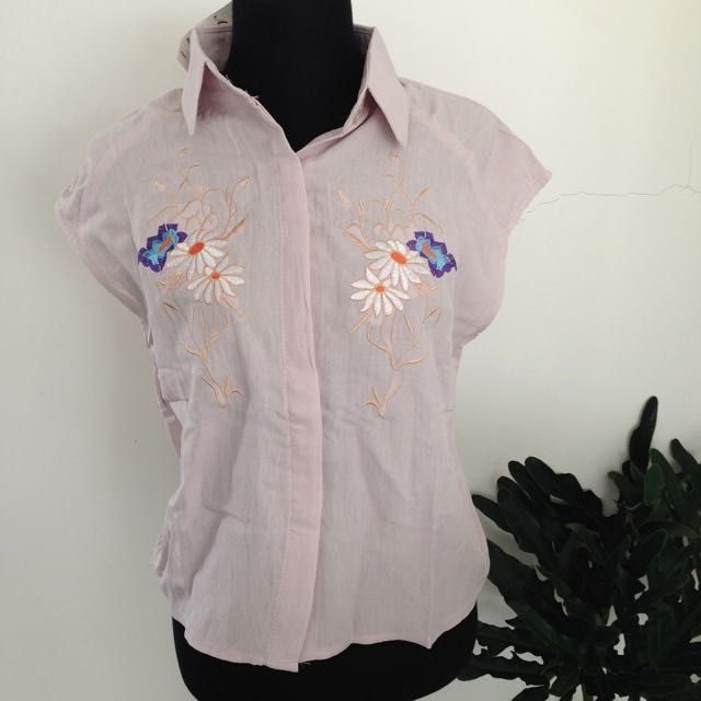 Lilac Embroidered Blouse