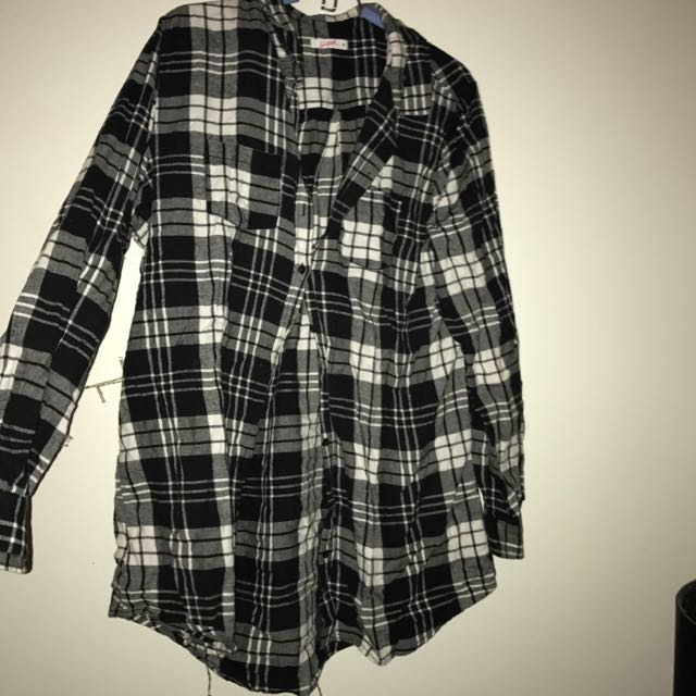 Long Flanellen Checkered Top
