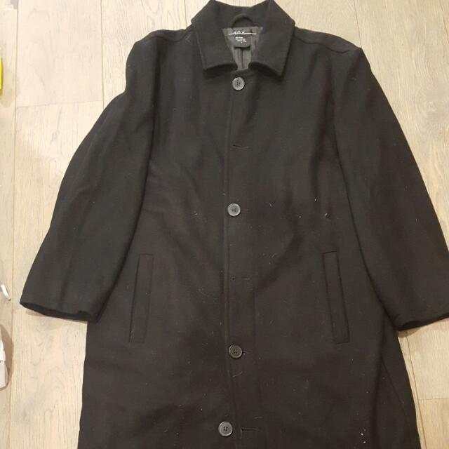 Men's Plain Black Trench coat Size S