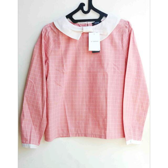 [NEW ORIGINAL KOREA] Pink White Ribbon Tops