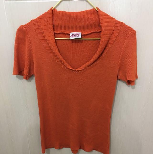 Orange Knitted V-neck Top