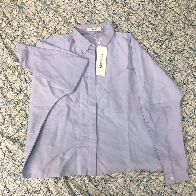 Oversized shirt in baby blue by cotton ink