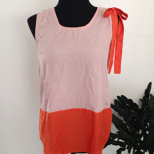 Pink & Coral Shoulder Bow Top
