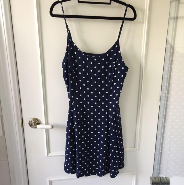 Polka Dot Pleated Camisole Dress