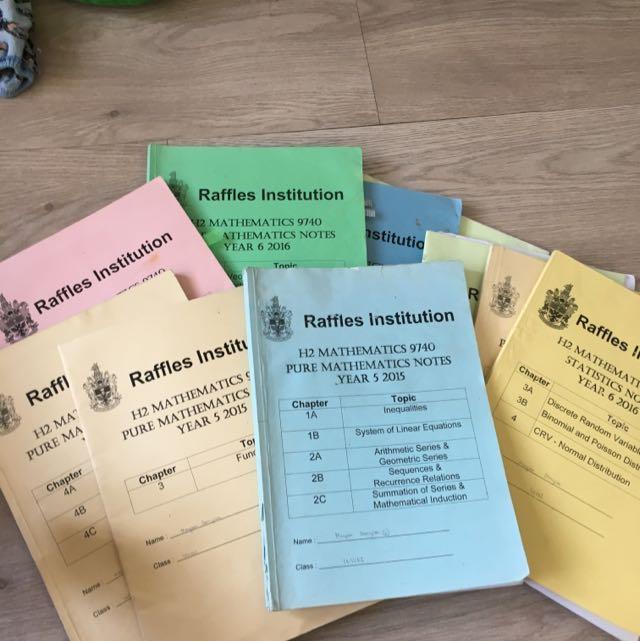 RAFFLES INSTITUTION H2 MATHEMATICS NOTES