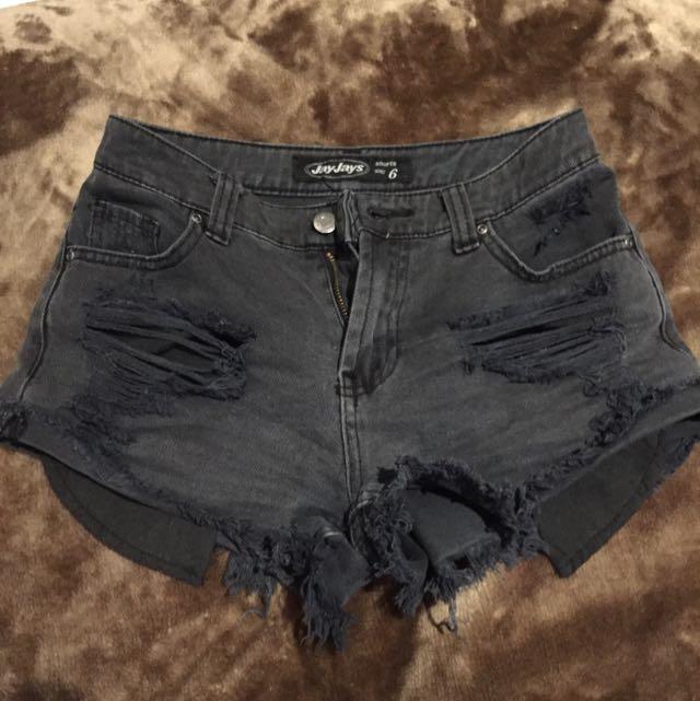Ripped Black Shorts