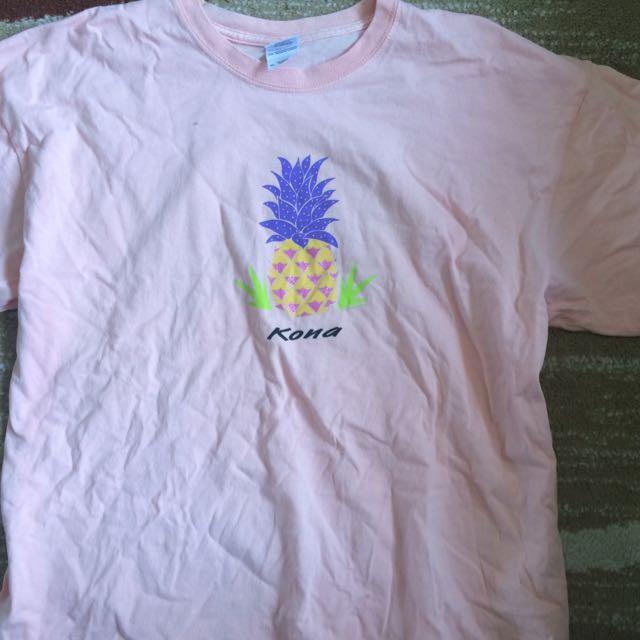 salmon pink kona printed shirt