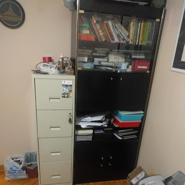 Tall Black Shelving and Storage Unit