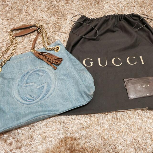 Tas Gucci Borsa Soho Denim Blue Wash (Preloved)