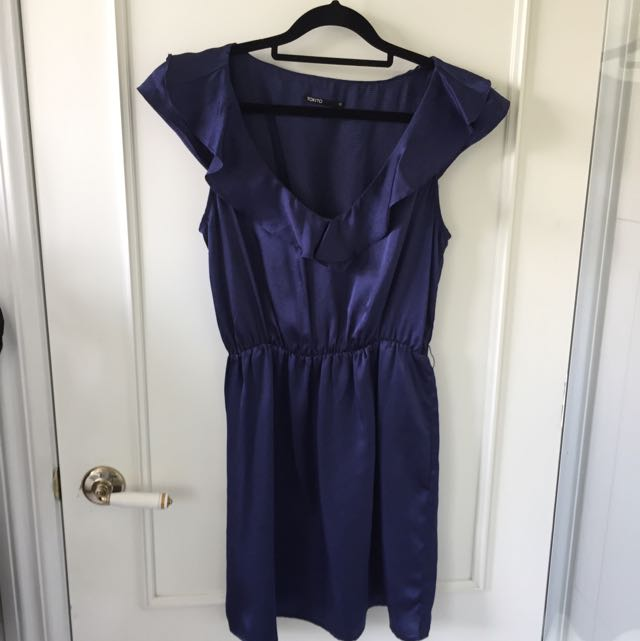 Tokito Size 10 Satin Blue Dress