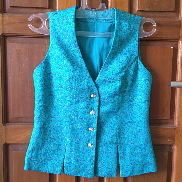 Turquoise Jacquard Vest