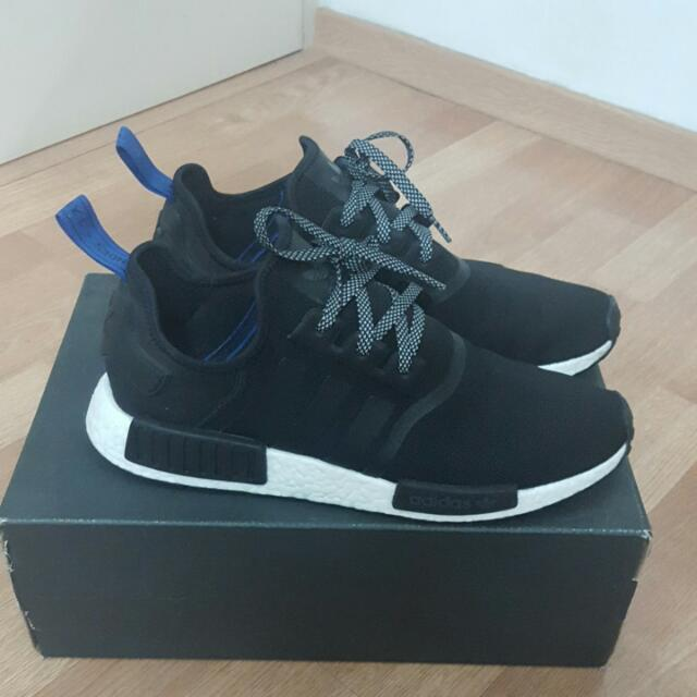 promo code 4a499 c77a0 Authentic Adidas Us 12 NMD R1 Core Black W  Blue Tag (Used), Men s ...