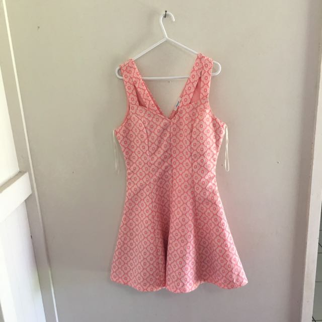 Valley Girl Peach Pattern Dress