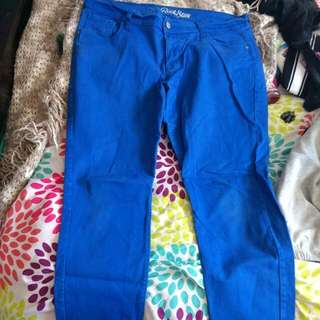 Bright Blue Skinny Jeans Size 16
