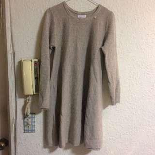 米色氣質毛料洋裝