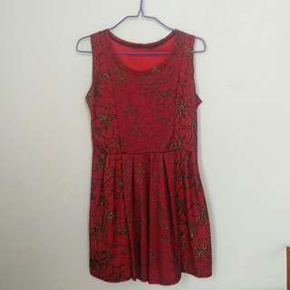 Red Dress With Golden Floral Pattern
