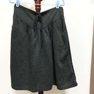 灰色及膝棉質裙 L號