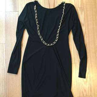 Black Bodycon Open Back Dress