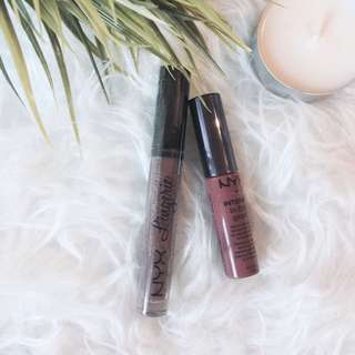 NYX - Buttergloss (Chocolate Crepe), Lingerie Lipstick (Teddy)